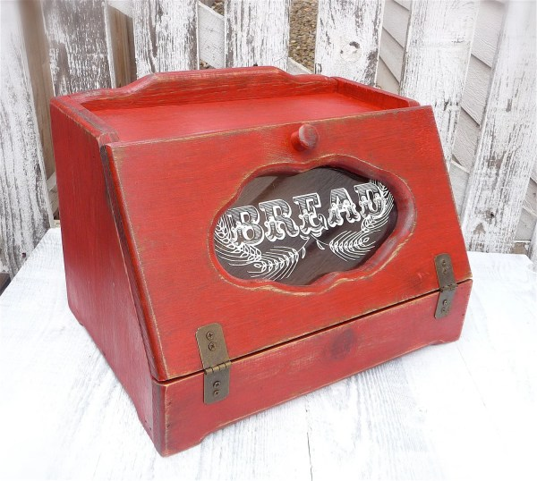 Country Red Shabby Chic Rustic Wood Bread Box