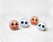 Halloween earrings set - Jack Skellington pumpkin jewelry - Nightmare Before Christmas - Boo, orange - small earrings - Free shipping - SecretFind