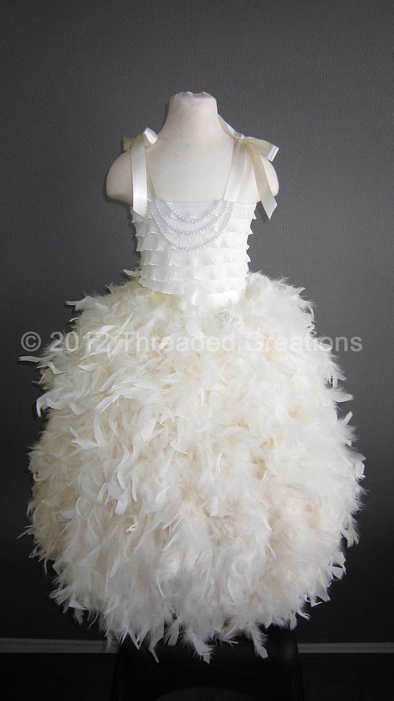 Feather Dress Feather Tutu Dress Ivory Tutu Dress