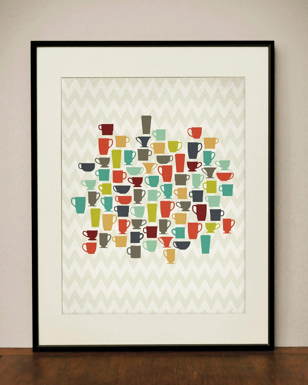 Retro Kitchen Coffee Cups 11x14 Art Print by ProjectType on Etsy