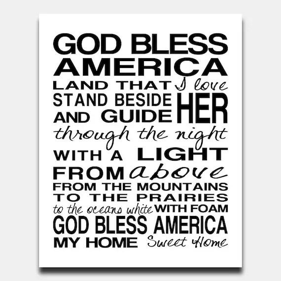 Items similar to God Bless America Subway Art Printable
