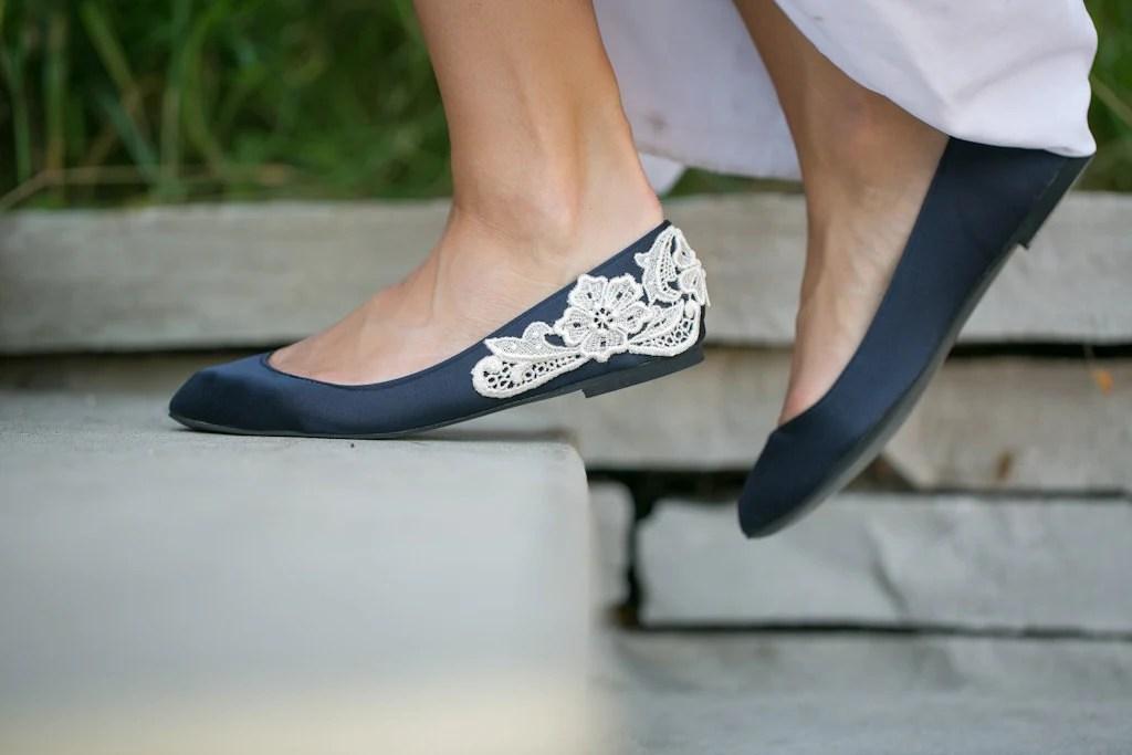 Wedding Flats Navy Blue Bridal Ballet FlatsWedding Shoes