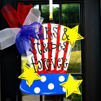 Items similar to 4th of July Wreath, Door Hanger: 4th of ...
