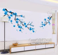 Items similar to blue cherry blossom wall decals white ...