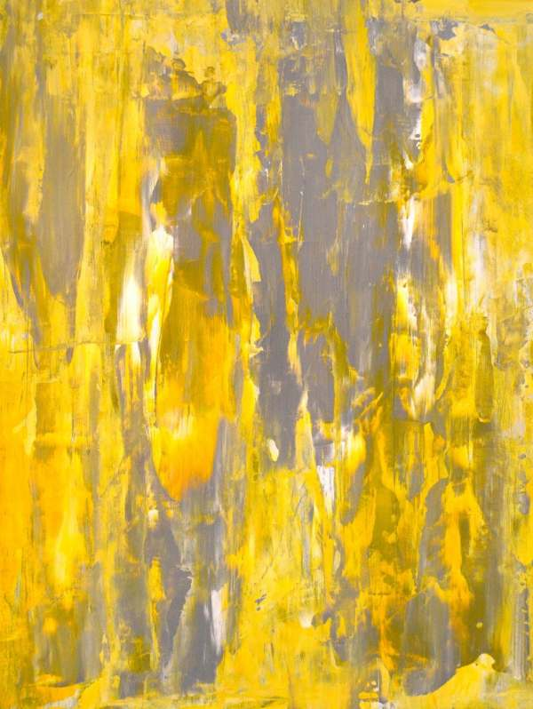 Acrylic Abstract Art Painting Grey Yellow And White Modern