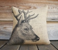 Deer Pillow, Burlap Pillow, Cushion, Rustic, Decorative ...