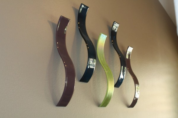 Custom Fused Glass Wall Art Sculpture Waves Set Of 5