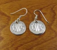 Monogram Earrings Sterling Silver Monogrammed