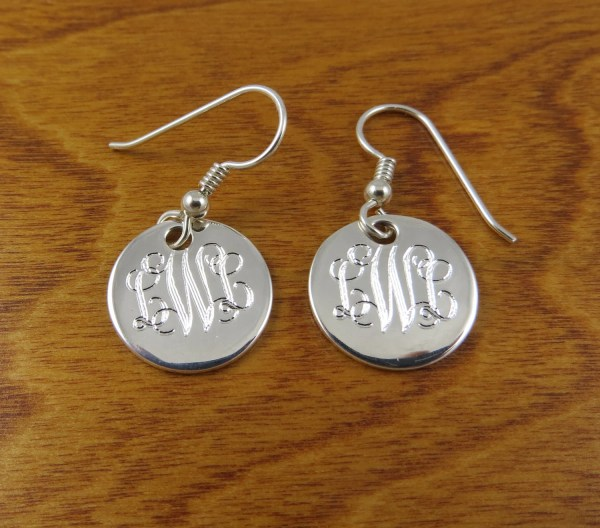 Monogram Earrings Sterling Silver Monogrammed