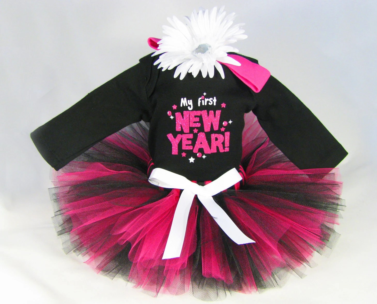 Baby Girl New Year Outfit - Babys New Year Tutu Set - Girls Tutu Bodysuit and Headband Set - My First New Year - Size 12 Months