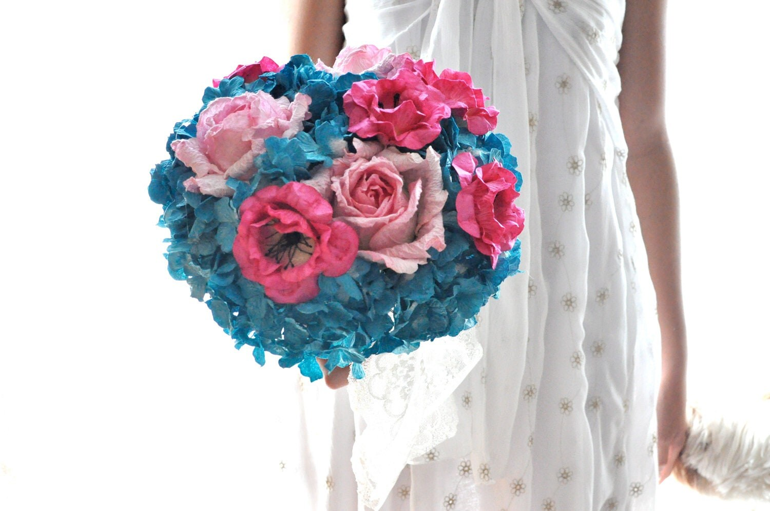 Bouquet Of Paper Flowers. Teal And Hot Pink Wedding Flowers