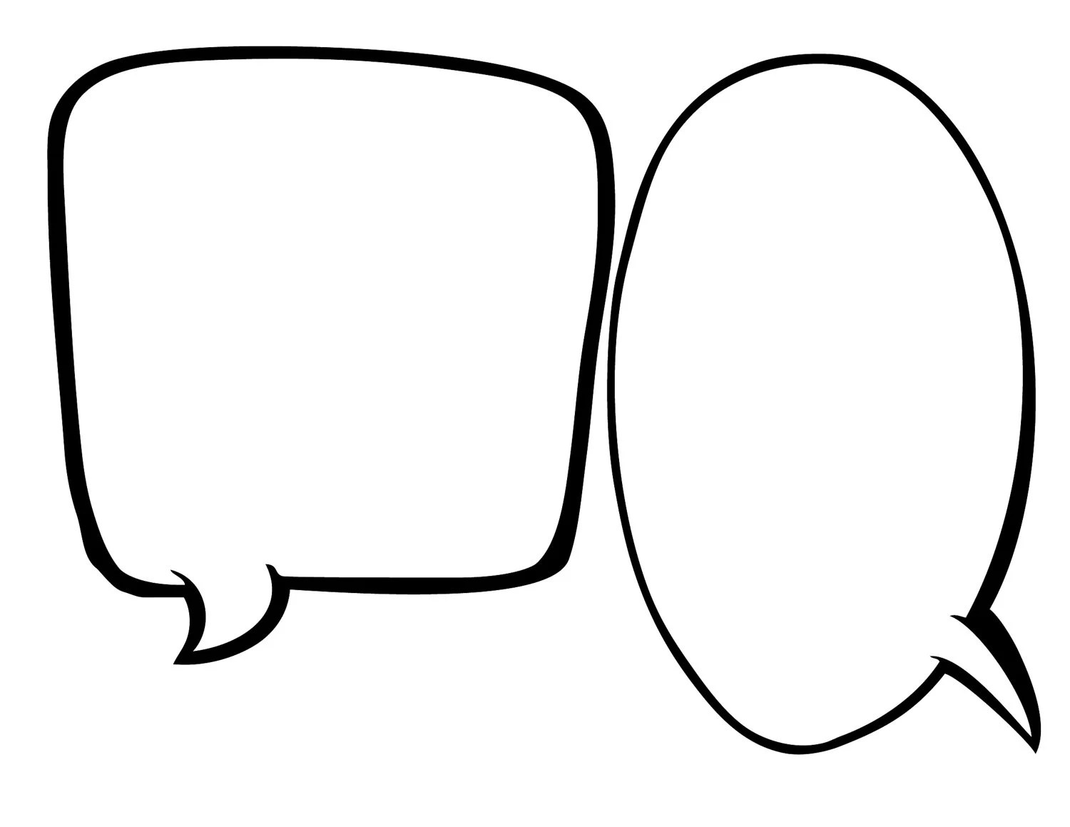 Blank Speech Bubbles 1/2 page INSTANT DOWNLOAD