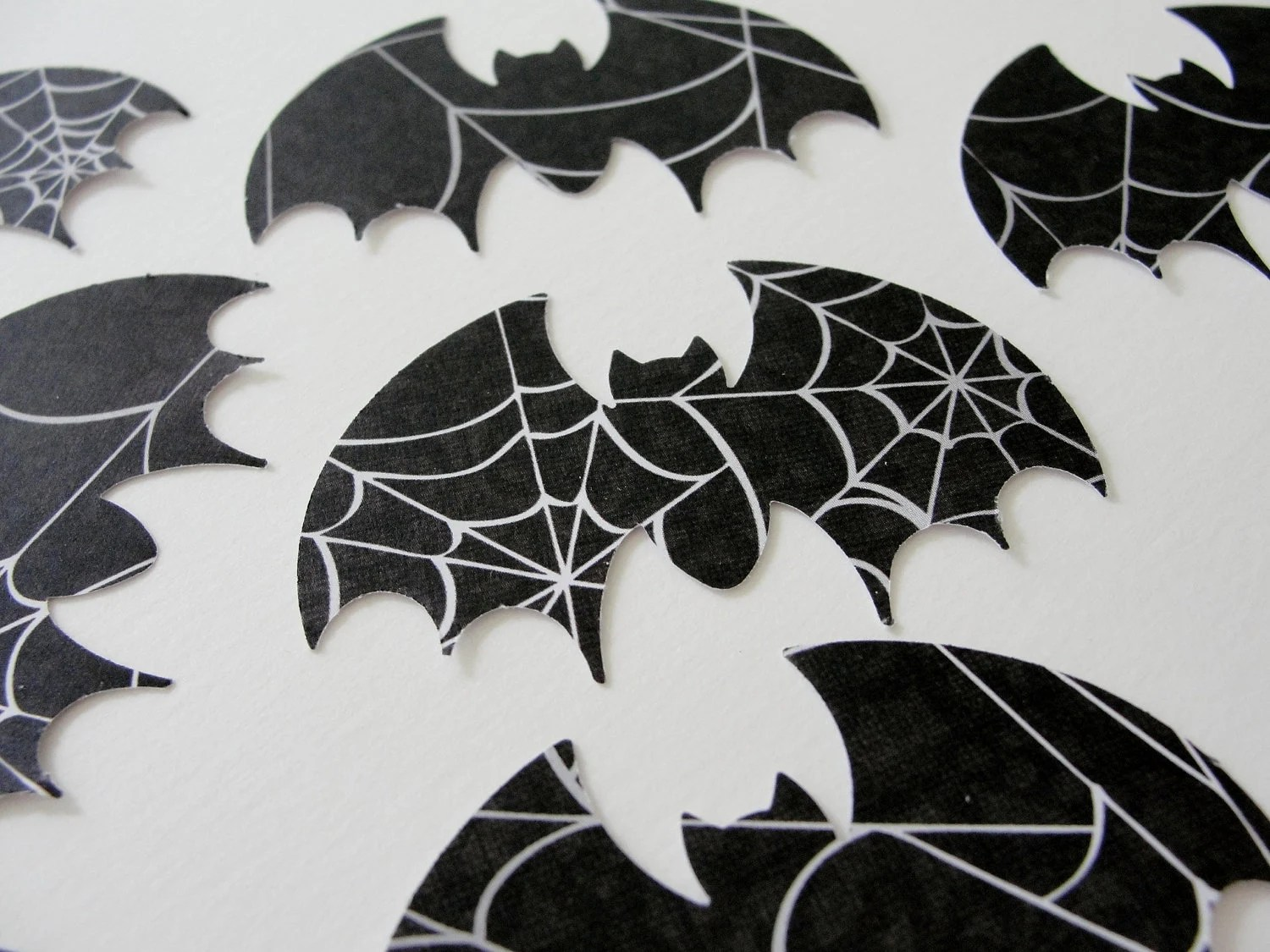 Black And White Bat Halloween Cut Outs Spider Web By