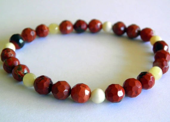 Faceted Brecciated Jasper and Calcite Stretch Bracelet