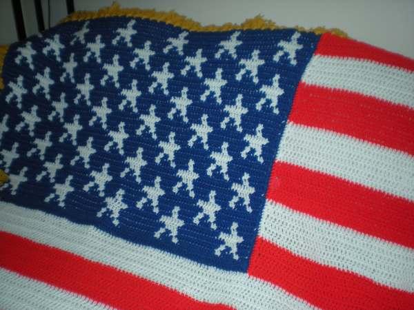 American Flag Afghan Blanket Crochet