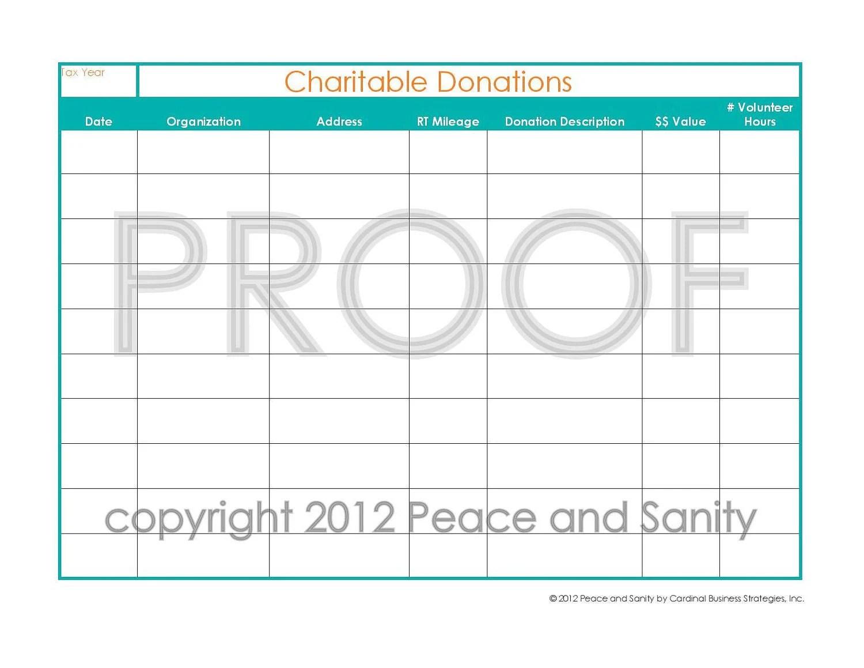 Charitable Donations Worksheet Printable By Peaceandsanity