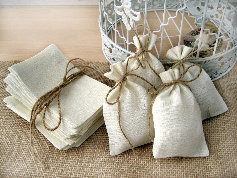 SET OF 10 Eco Rustic Linen Wedding Favor Bag Or Gift Bag