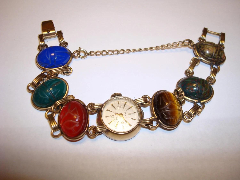 Vintage 10 K RGP Scarab Bracelet Watch With 120 12K Band