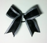 black and silver hair bow shelbowshairbows