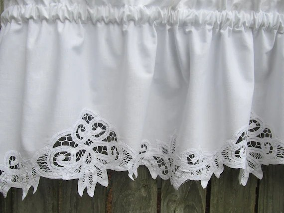 Country Battenburg Lace Curtain Valance in White by HomeStyled