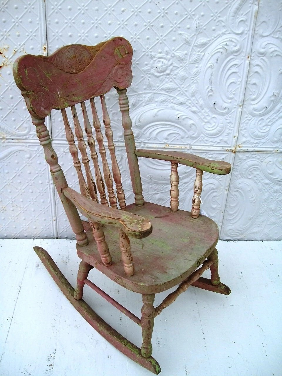 Items similar to Pressed Back Childs Antique Rocking Chair