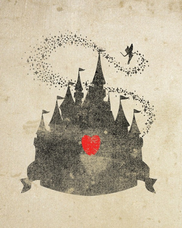 Disney Castle Inspired Silhouette 8x10 Art Print With Heart