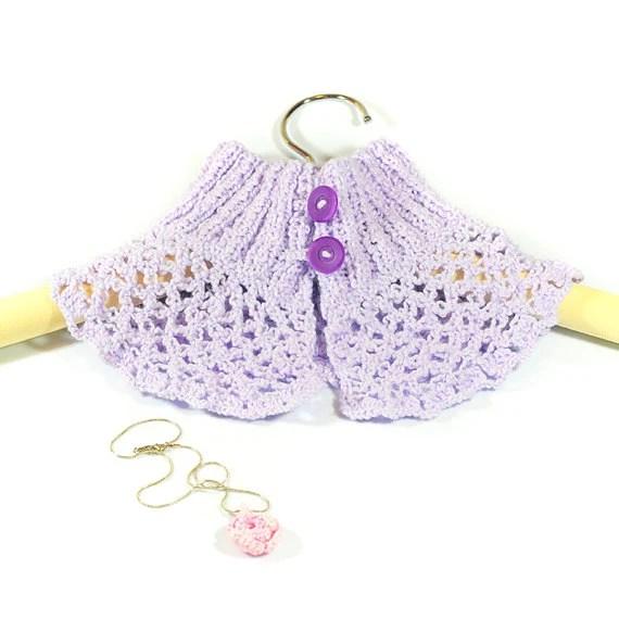 Crocheted purple Neckwarmer, Cowl Choker,  Purple Knitted Cowl, Pendant, gift, crochet necklace, Lavender (floral), Winter Accessory - gonulk
