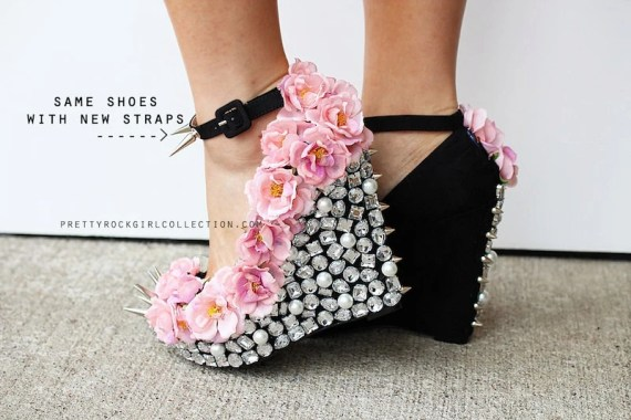 Floral Rhinestone Studded Spike Wedge Shoes 5 inch heels-sizes 5 1/2, 6, 7, 7 1/2, 8 - PrettyRockGirl