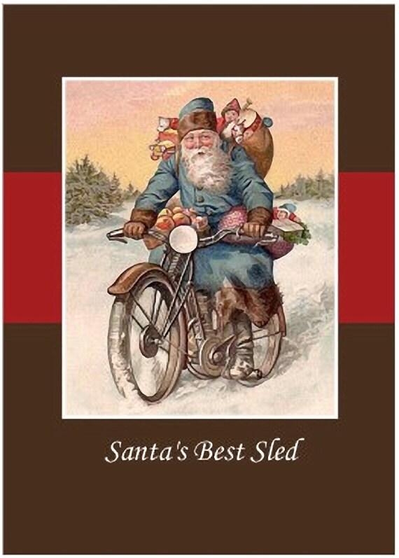 Items Similar To Vintage Santa Rides Vintage Motorcycle