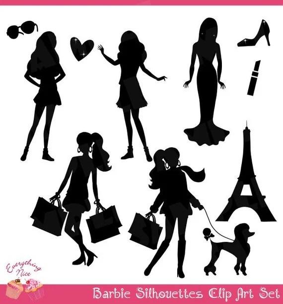 Barbie Black Silhouettes Clip Art Set