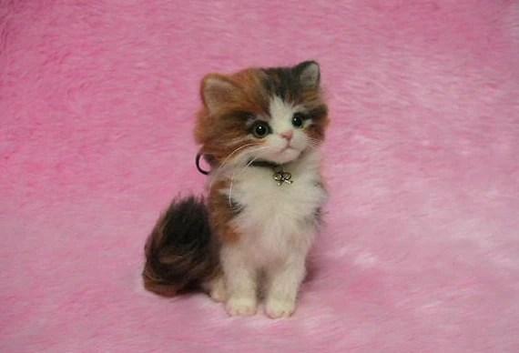 Needle Felted Fluffy Calico Kitten Miniature Wool Felt Cat
