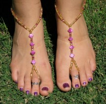 Gold Slave Ankle Bracelet Toe Ring with Hearts