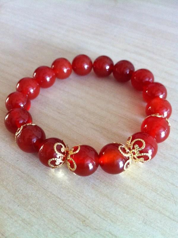 Items similar to Red Carnelian Stretch Bracelet with18K