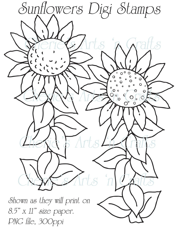 Digi Stamps Line Art Sunflowers Line Art by CheriesArtsnCrafts