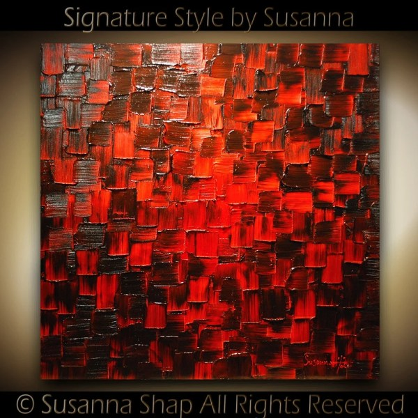Original Large Modern Black Red Abstract Modernhouseart