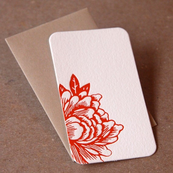 Mini Notes, Letterpress : Scarlet Red Blossoming Flower Mini Notes - package of 50 tiny flat cards, with personalized envelope color choice