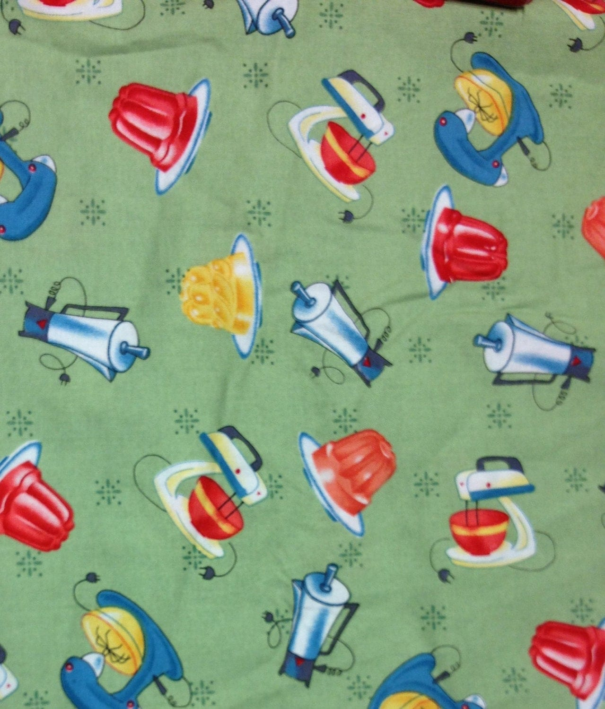 Retro 1950s Style Printed Kitchen Appliances Fabric