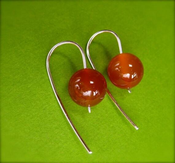 Carnelian Earrings, Orange Gemstone Hoops, Modern Drop Hoops