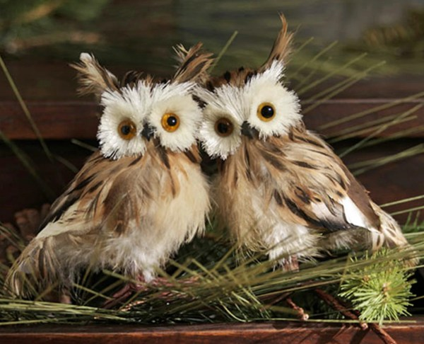 Pair 2 Fuzzy Brown Feather Hooty Lodge Barn Owls Christmas