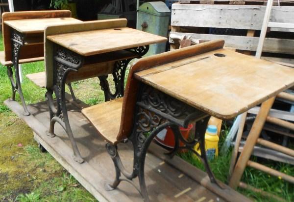 Antique School Desks 3 Wooden Student Rail Iron