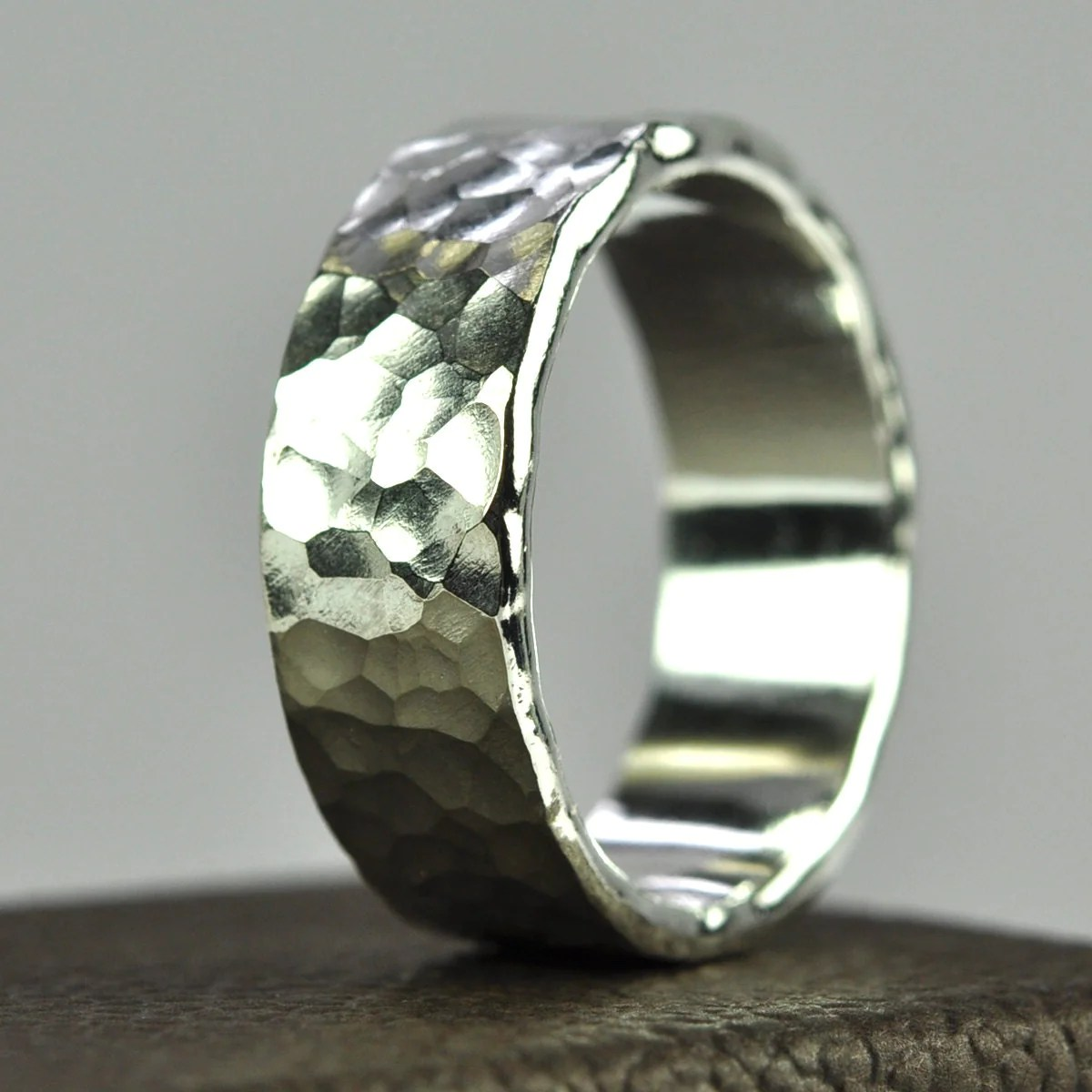 Silver Mens Ring Hammered Wedding Band Affordable Eco