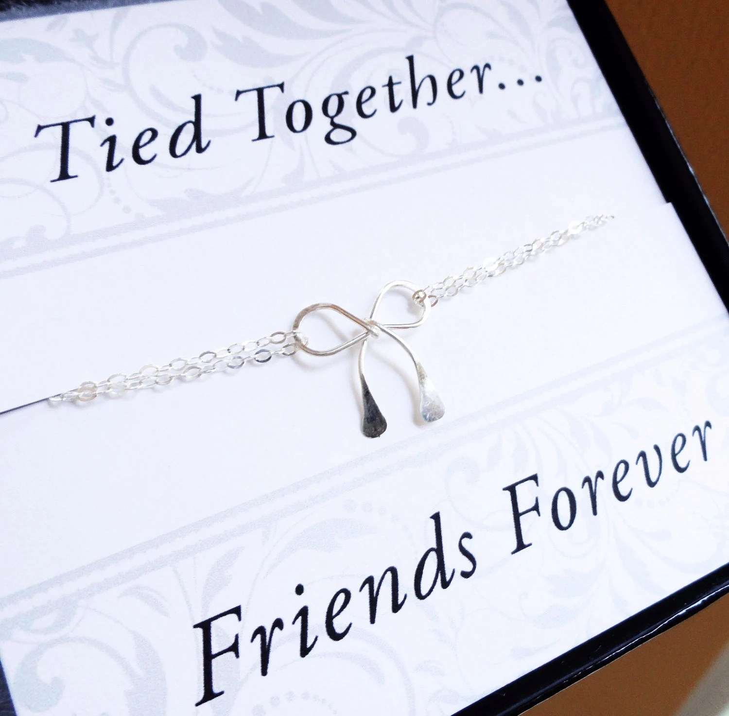 Items Similar To Sterling Silver Bow NECKLACE Friendship