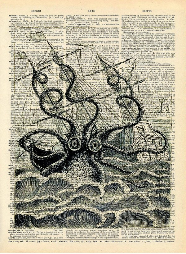 Altered Art Book Print Giant Squid Sea Monster Upcycled