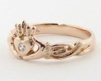 Rose Gold & Diamond Claddagh Ring Irish Band