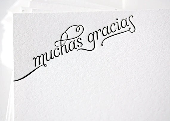 muchas gracias letterpress thank you cards in by