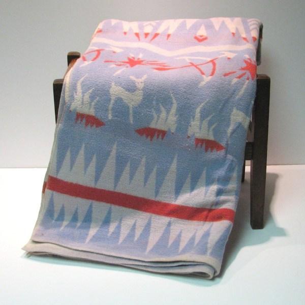 Vintage 1950s Indian Camp Blanket Deer Bow And Arrow