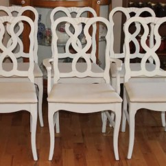 Country French Chairs Upholstered Little For Toddlers 6 Dining Painted White And Newly