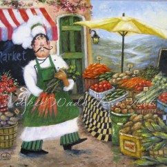 Chef Wall Decor Kitchen Vacuum Market Art Print Fat Chefs Paintings Prints