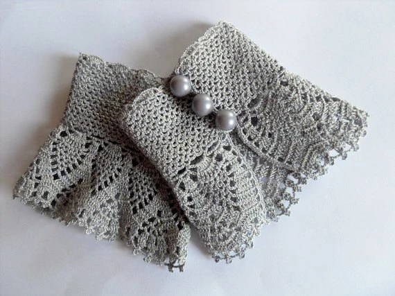 Crochet Gloves Victorian Gloves Gray Lace Gloves Pearl Buttons Bridesmaid gift Shabby Chic Silver Grey Gloves - SmilingKnitting