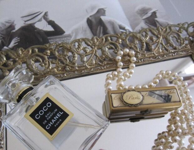 Vintage Gold Vanity Tray Mirror Vanity Mirror Perfume Tray